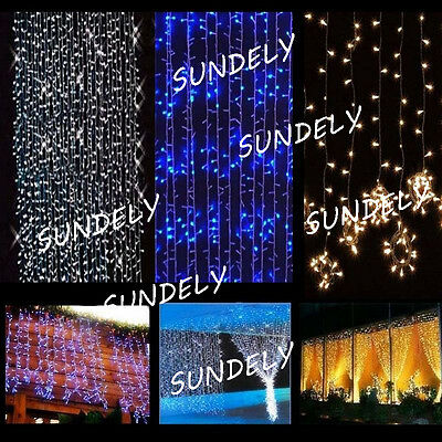3M*3M Fairy String Net Curtain Mesh LED For Xmas  Party Ceiling Lights UK Plug
