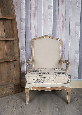 French Louis Armchair Oak Wash Shabby Chic Antique Style Bedroom Hall Butterfly