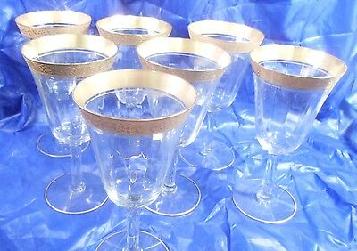 7 Tiffin Gold Encrusted Rambler Rose Optic Water Goblets USA c1950