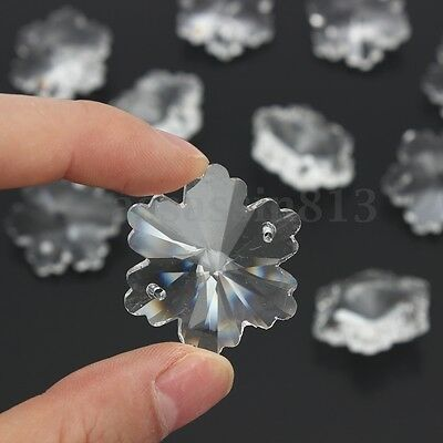10PCS Clear Snowflake Flower Crystal Beads Chandelier Lamp Prisms Pendants 30mm