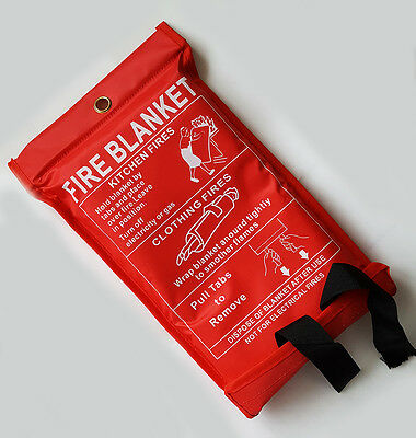 FIRE BLANKET 1M x 1M QUICK RELEASE LARGE SIZE EASY TO HANGE RED COVER UK STOCK
