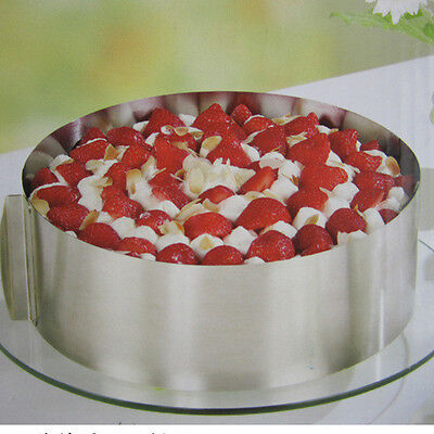 "6""-12"" Adjustable Round Stainless Steel Mousse Cake Ring Mold Layer Cutter Mold"