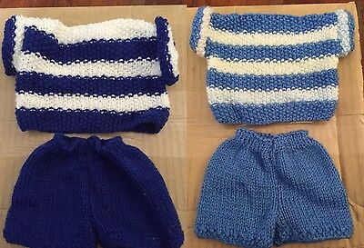 2x Hand Knitted Outfits For Bears