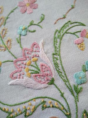 Pastel Jacobean Stylised Vintage Hand Embroidered Centrepiece