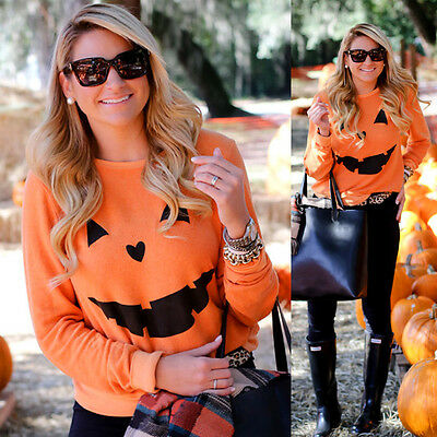 New Women Halloween Pumpkin Print Long Sleeve Sweatshirt Pullover Tops Blouse