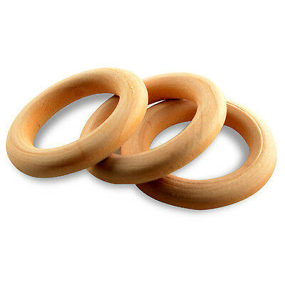 GOD 10PCS Natural Wooden Baby Rattle Teether Ring Jewelry Craft Baby Shower Gift