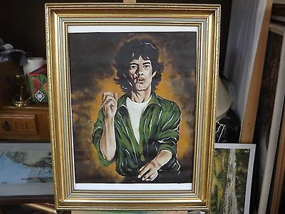 Pop Art Style Painting On Canvas Of Mick Jagger Signed Barrow