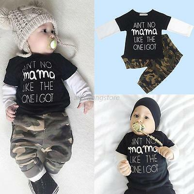 2pcs Baby Kid Boys Camo Clothes Casual Long Sleeve T-shirt Tops+Pants Outfit Set