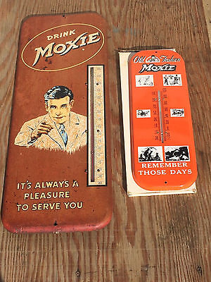"RARE FIND 2 MOXIE Bottle Soda Advertising Sign Thermometers 1-10x26"" 1-Mint NOS"