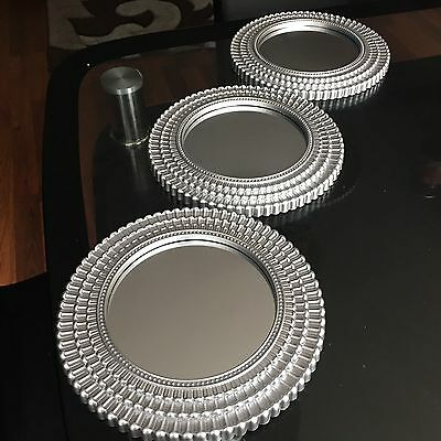 SET OF 3 Silver MOROCCAN ART DECO Round Wall MIRRORS WALL ART Moroccan MIRROR