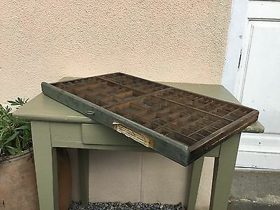 Vintage French Printers Tray Rustic Letterpress Type Case Drawer Display