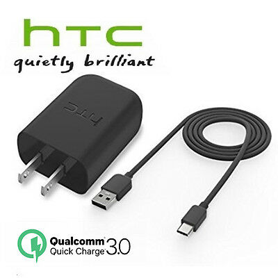 OEM Original HTC 10 Quick Charging 3.0 Wall Rapid Charger Type C USB Data Cable