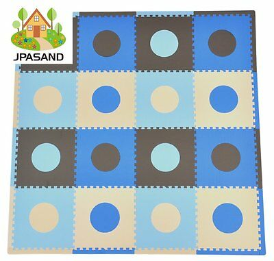 Kids Baby Foam Floor Puzzle Play Mat Gym Toy Blue/Brown Activity Playmat