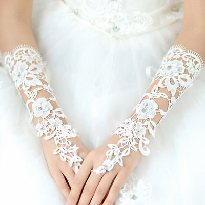 Women White Lace Long Fingerless Wedding Prom  Accessory Bridal Party Gloves US