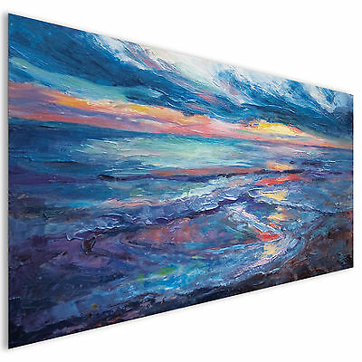 Blue Sea Painting Modern Contemporary Abstract Acrylic Glass Wall Art XL