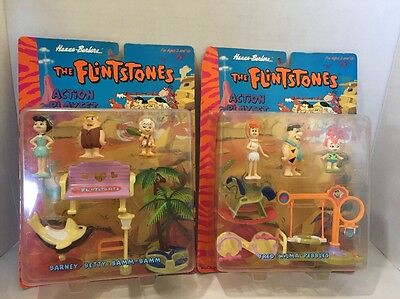 RARE Lot 2 New Flintstones Playset 1994 Hanna-barbera Fred & Barney Sealed