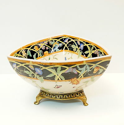 Bronze Porcelain Art Deco Style Art Nouveau Style Flower Fruit plate Centerpiece