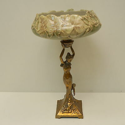 Centerpiece Fruit plate Dancer Art Deco Style Art Nouveau Style Porcelain Bronze