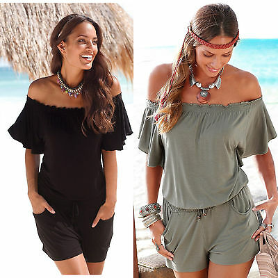 UK Womens off shoulder Shorts sleeve Strapless Playsuit Ladies Summer Jumpsuit