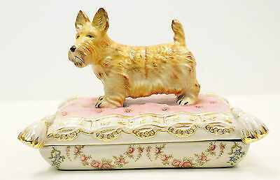 Box Jewelry Figurine Powder Box Dog Fox terrier Wildlife Art Deco Style Art Nouv
