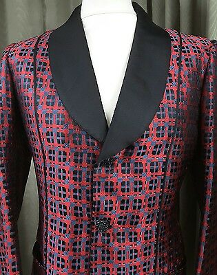 VERY RARE 1970s Brioni Red Check Tuxedo Dinner Smoking Jacket 1975