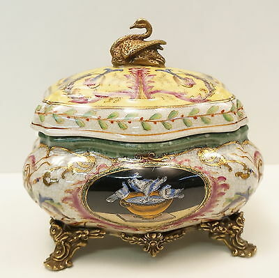 Box Jewelry Tobacco Swan Bird Art Deco Style Art Nouveau Style Porcelain Bronze