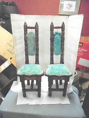 "2 unique high back small wooden chairs 32-1/2"" tall child's turned legs midevil"