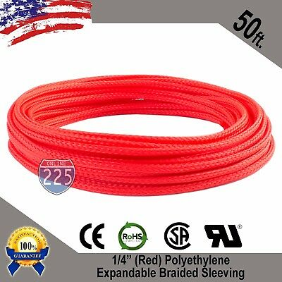 "50 FT 1/4"" Red Expandable Wire Cable Sleeving Sheathing Braided Loom Tubing US"