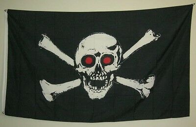 New 3' by 5' Pirate with Red Eyes Flag. Free Shipping in Canada!