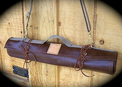 "Handmade 10 Slot Leather Chef's Knife Roll in Mocha for up to 19"" Knives"