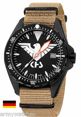 KHS Tactical Watches Missiontimer 3 Eagle One C1-Lighting Date Army Band TAN