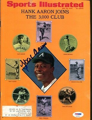 Hank Aaron Signed 1970 Sports Illustrated Magazine Autographed PSA/DNA AC65615