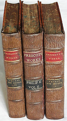 William H Prescott 1873-1874 3vol History of the Reign of Philip the Second