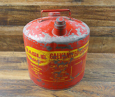 Vintage EAGLE (Model 505) 5 Gallon Galvanized Metal Gas Can USA