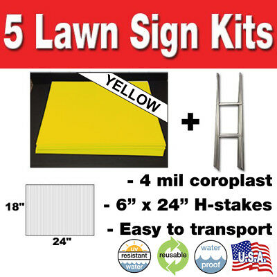 YELLOW 5 pack Blank Yard Signs 18x24 with H-stakes