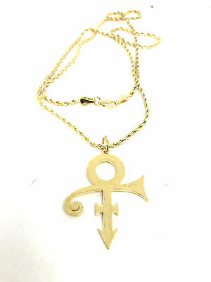 """PRINCE NECKLACE LOGO PEACE love symbol 24"""" NECKLACE EARRINGS SET GOLD WHITE"""