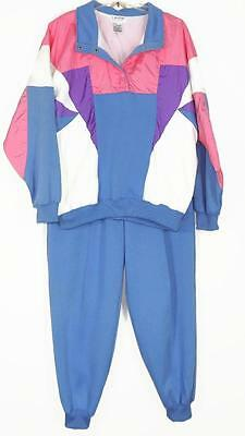 LAVON Womens Running/Exercise 2 Piece Track Suit Pants/Top Sz L Blue/Multicolor
