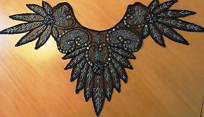 Antique Collar Dress Trim Beaded Net Applique Vintage Black Green Sequins