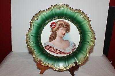 Vintage  EMPIRE CHINA  LADY PORTRAIT CABINET PLATE , Green  & GOLD- Signed