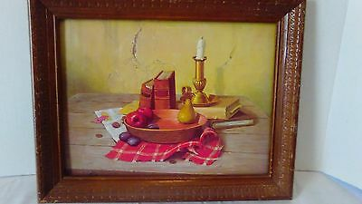 Vintage Wood Framed Litho Print By Alton S Tobey Book Candle Fruit Theme