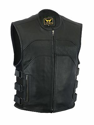 Mens Black Cow Leather CONCEALED CARRY VEST Gun Holster CCW Motorcycle Biker
