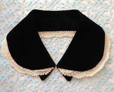 Japan Murua X Vivi Black Velvet Peter Pan Collar Ivory Ruffle Lace Goth Cosplay