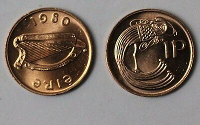 IRELAND: 1980 Irish One Penny coin in Brilliant Uncirculated condition