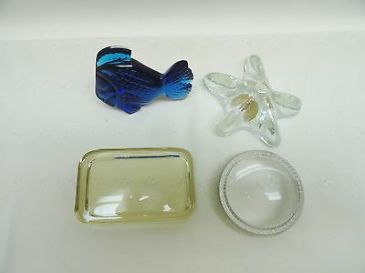 Paperweights, Lot of 4 Glass Paperweights, Cobalt Blue, Vintage