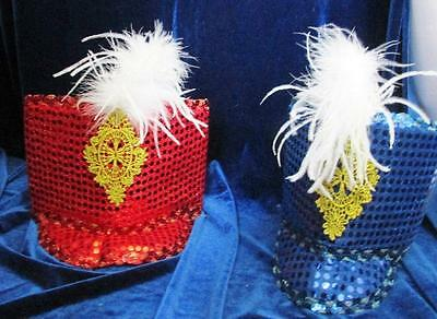 New Lot of 8 Toy Soldier Hats Feather Nutcracker Sequin Brim Curtain Call