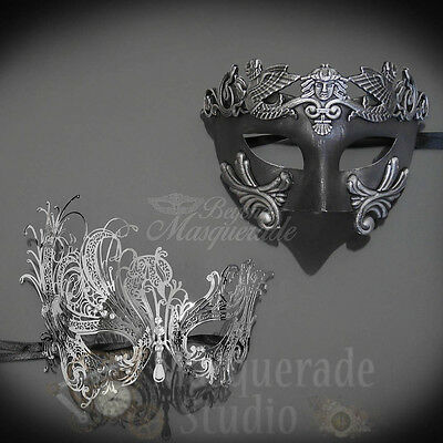 His & Her's Couples Silver Roman and Swan Costume Masquerade Masks Set