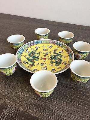 Chinese Famille Rose Porcelain Dragon Design Wine or Tea Cup with Snack Plate
