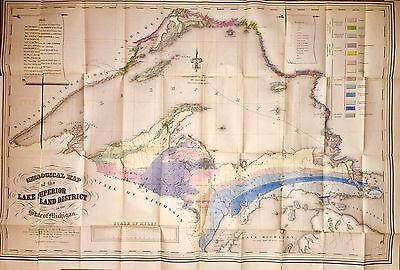 Giant Color Map of Upper Peninsula Michigan, 1847.