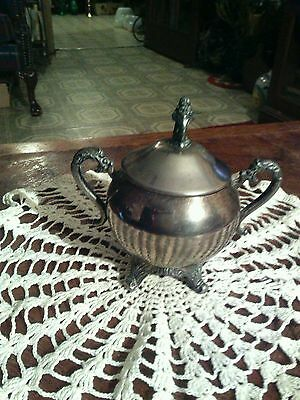 Silver on Copper Sugar Bowl With Lid by Sheridan.
