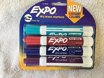 EXPO Dry Erase Markers Vibrant Colors Chisel Tip 1 Pack of 4 New Sealed